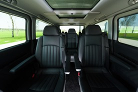 Our luxury vans:  Pleasant interior with single leather seats
